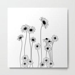 Minimal line drawing of daisy flowers Metal Print