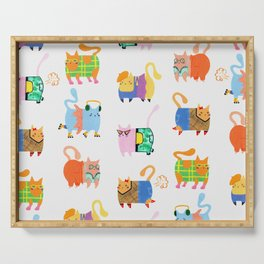 Fashion Cats - Rainbow Pattern Serving Tray