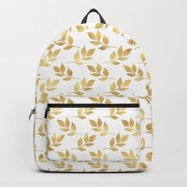 Trendy Gold Glitter Foliage White Design Backpack
