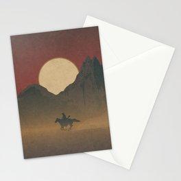 Roaming Paladin: Red Dusk, Cowboy On Horseback Western Sunset Stationery Cards
