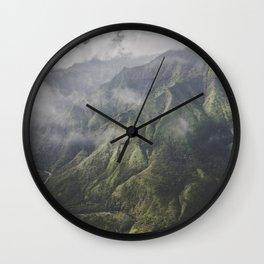 Mountain on the Green - Kauai, Hawaii Wall Clock