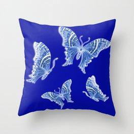 Royal Cobalt Blue and Porcelain Butterflies  Throw Pillow