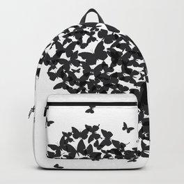 Heart - summer card design, black butterfly on white background Backpack