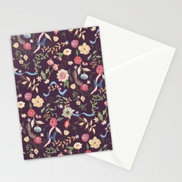 Purple Chintz Floral Stationery Cards