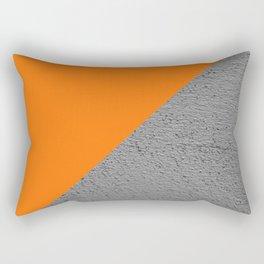 Cement vs Orange Diagonal Color-block Rectangular Pillow