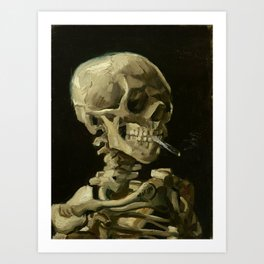 Van Gogh's Head of a Skeleton with a Burning Cigarette (High Resolution) Art Print