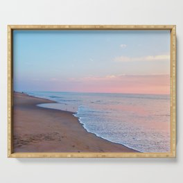 Pink ocean sunrise - minimalist landscape photography | Rehoboth Beach, DE Serving Tray