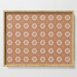 Bohemian Sun Print - terracotta aruba, sun, sunshine, tile, boho, clay, brown, happy, decor Serving Tray