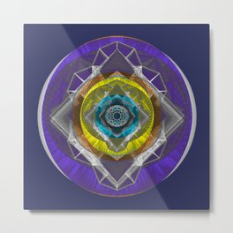 Cosmic Eye Stained Glass Mandala Metal Print