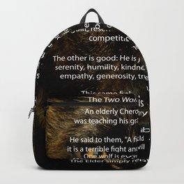 The TWO WOLVES CHEROKEE TALE Backpack
