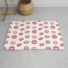 Colorful lips pattern Rug