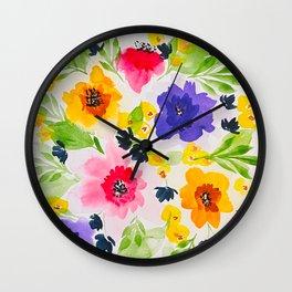 Watercolor Vibrant Flowers Wall Clock