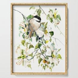 chickadee and dogwood, chickadee art design floral Serving Tray