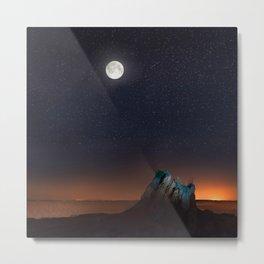 Night desert with moon Metal Print