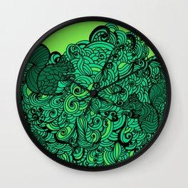 Squirrels Zentangle Drawing Green Wall Clock