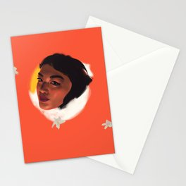 Woman Portrait with Flowers on Orange Background Stationery Cards