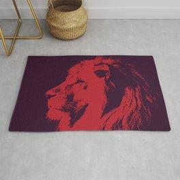 Red rising sun lion wall art print Rug