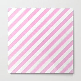 Diagonal Stripes (Pink & White Pattern) Metal Print