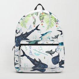 floral shark pattern Backpack