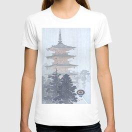 Man with Umbrella And Japanese Pagoda - Vintage Japanese Woodblock Print Art By Ohara Koson T-shirt
