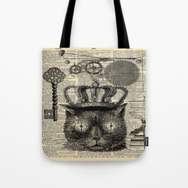 dictionary print steampunk gear halloween spooky black cat Tote Bag