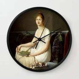 Robert-Jacques Lefvre - Portrait of a Woman Holding a Pencil and a Drawing Book Wall Clock