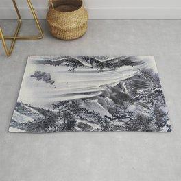 Kawanabe Kyosai - Waterfall, Eagle And Monkey - Digital Remastered Edition Rug