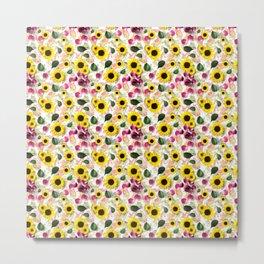 beautiful cute floral sunflower pattern Metal Print