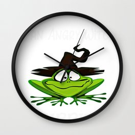 Halloween What Do You Say to an Angry Witch Ribbit Wall Clock