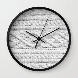 White Knitted Wool Wall Clock