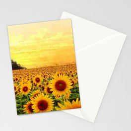 Fields of Gold Sunflowers at first morning light landscape painting Stationery Cards