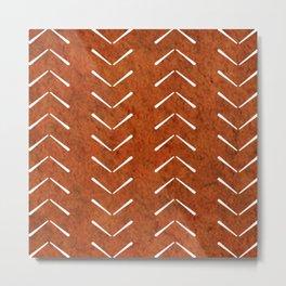 Orange And White Big Arrows Mud cloth Metal Print