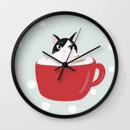 Polka dot red mug cat latte coffee Wall Clock