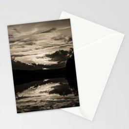 Sundown At Lake Heve 6 sepia Stationery Cards
