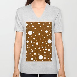 Mixed Polka Dots - White on Chocolate Brown Unisex V-Neck