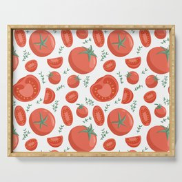 Tomatoes seamless pattern in cartoon style. Healthy organic cherries with rosemary and tomato slices. Serving Tray