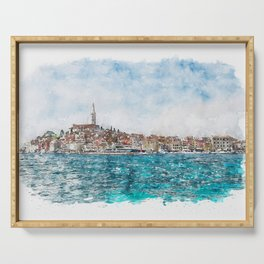 Aquarelle sketch art. Boat trip Rovinj. View to the city. Serving Tray