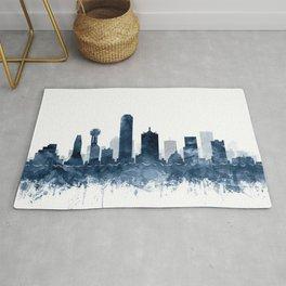 Dallas Skyline Navy Blue Watercolor by Zouzounio Art Rug