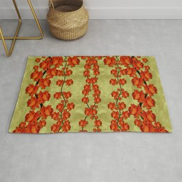 roses decorative in the golden environment Rug