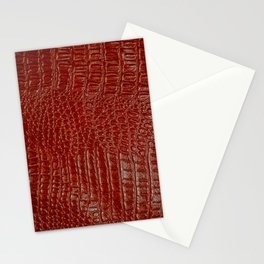 Later, Gator! - Red Faux (2D) Alligator Hide Stationery Cards