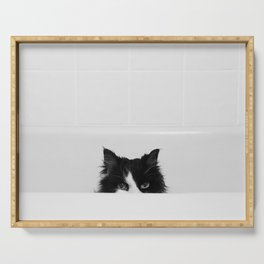 Water Please - Black and White Cat in Bathtub Serving Tray