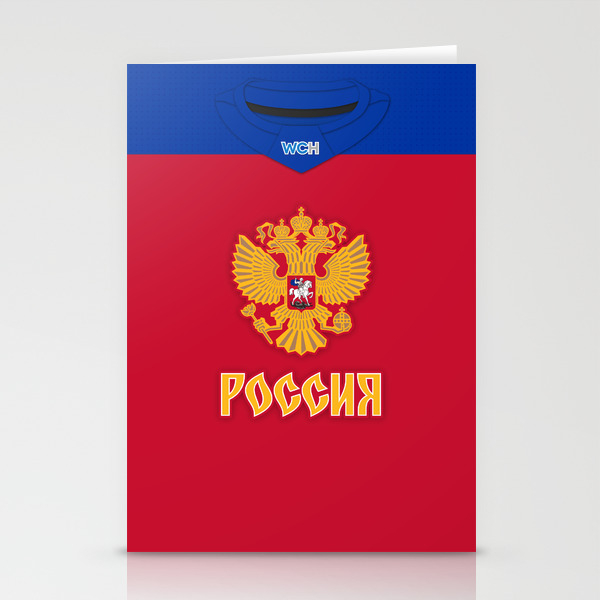 Russia World Cup Of Hockey 2016 Home Jersey Stationery Cards by Russjerichoart CRD8090570