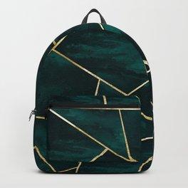 Dark Teal Ink Gold Geometric Glam #1 #geo #decor #art #society6 Backpack