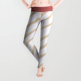 Diagonal golden stripes Leggings