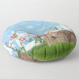 Large brown bunny rabbit in a flower garden Floor Pillow