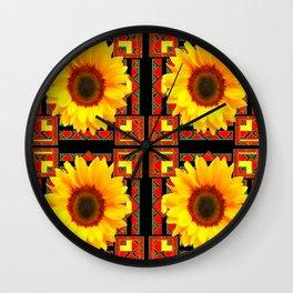 QUATRE WESTERN BLACK & RED ART DECO YELLOW SUNFLOWER Wall Clock