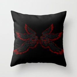 Archangel Lucifer with Wings Black Throw Pillow