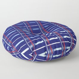 Blue Checkered Pattern (red & white stripes) Floor Pillow