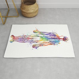 Human Body With All Nerves Art Gift Anatomy Gift Colorful Watercolor Gift Neural Art Medical Art Rug
