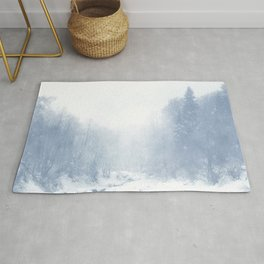 winter river navy tone washed out effect aesthetic landscape art photography Rug